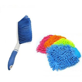 Carpet Brush Microfibre Wet and Dry Brush with 4 Microfibre Gloves