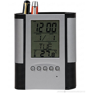 Tuelip Grey  Black Digital Clock Date Temperature Alarm with Pen Pencil Holder