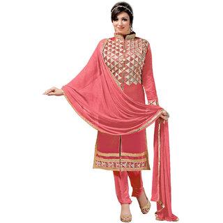 Khushali Presnts Embroidered Chanderi Dress Material(Gajari)