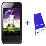 ADCOM A350 Android Mobile Phone (Black) + ADCOM 5400mAh Power Bank -blue