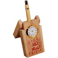 Elegant Wooden Pen Stand Cum  Clock