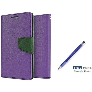 Micromax Unite 3 Q372 WALLET FLIP CASE COVER (PURPLE) With STYLUS PEN