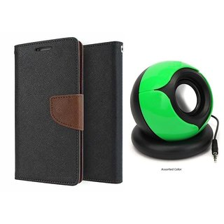 Micromax Canvas Doodle 3 A102 WALLET FLIP CASE COVER (BROWN) With SPEAKER
