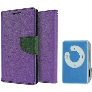 Samsung Galaxy Grand 2 G7105 WALLET FLIP CASE COVER (PURPLE) With Mini MP3 Player