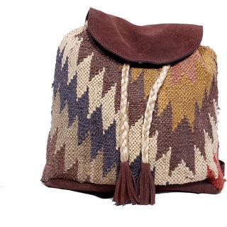 IndiWeaves Women's Vintage Handmade Ethnic Kilim and Leather Back Pack Bag