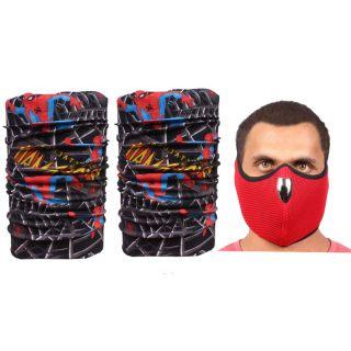 Sushito Red Fancy Face Mask  Freebie Bandana For Men JSMFHFM0794-JSMFHMA0562-JSMFHMA0562