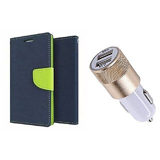 Micromax Canvas Play Q355 WALLET FLIP CASE COVER (BLUE) With Fast Usb Car Charger