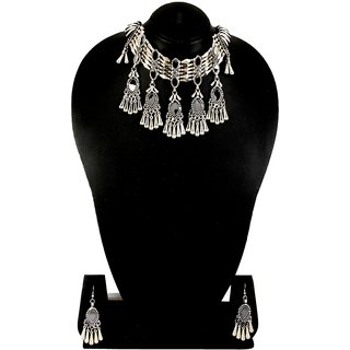 661 Adoreva Garba Navratri Silver Necklace Earrings Set For Women and Girls