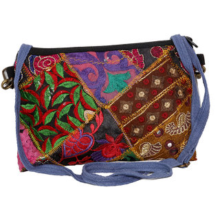 IndiWeaves Women's  Handmade Ethnic Cotton PatchWork Shoulder/Clutch Bag