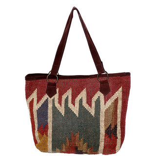 IndiWeaves Women's Vintage Handmade Ethnic Kilim Tote Hand Bag