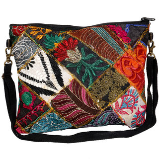 IndiWeaves Women's  Handmade Ethnic Cotton PatchWork Shoulder/Clutch Bag