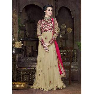 Thankar Cream  Multi Embroidered Net Anarkali Suit