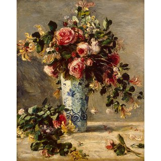 The Museum Outlet - Roses and Jasmine in a Delft Vase, 1890-91 - Poster Print Online Buy (30 X 40 Inch)