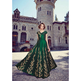 Thankar Dark Green  Beige Embroidered Georgette Anarkali Suit