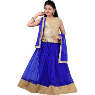 Aarika Girls Self Design Party Wear Lehenga Choli and Dupatta Set