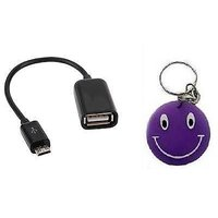 New Micro USB OTG Adapter Pen Drive Cable For Galaxy Etc Free Smiley Key Chain.
