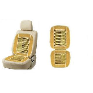 Wooden Bead Seat With Velvet Border Beige colour For All Cars
