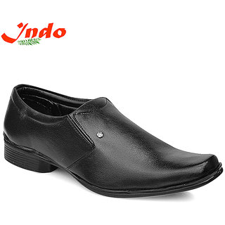 Indo Mens Black Slip On Formal Shoes