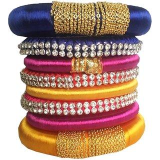 Kuhuk Silk Dori Cubic Zirconia Bangle Set (Pack of 8)