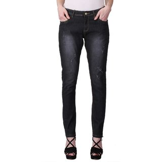 KOTTY Black Ripped Stone Washed Jeans