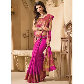 INDIAN BEAUTY. Multicolor Art Silk Plain Saree With Blouse