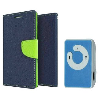 Micromax Canvas Juice 3 Q392 WALLET FLIP CASE COVER (BLUE) With Mini MP3 Player