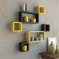 USHA Furniture Wall Shelf Set of Six Designer Wall Rack Shelves-Black Yellow