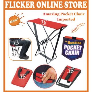 THE AMAZING POCKET CHAIR STOOL  FOLDABLE CHAIR HOLDS UP TO 250 LBS