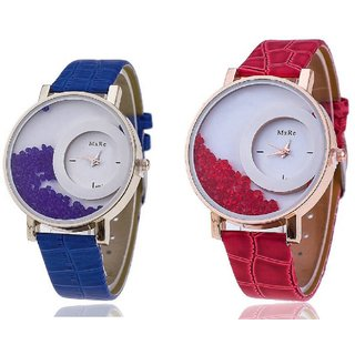 Leather Bracelet Watch for women combo of 2