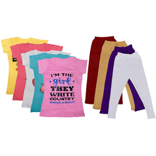 IndiWeaves Girls Cotton Leggings With T-Shirts(Pack of 4 Legging and 5 T-Shirts )Multi-ColouredPinkMaroonBeigePurple30