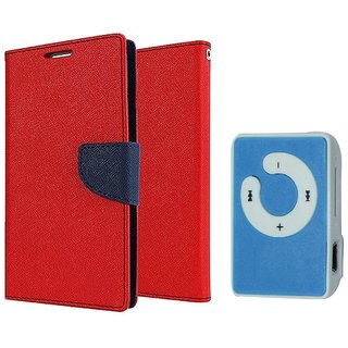 Lenovo A6000 WALLET FLIP CASE COVER (RED) With Mini MP3 Player