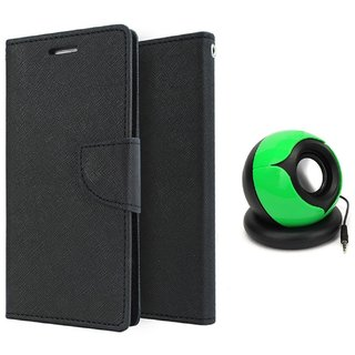 Micromax Unite 3 Q372 WALLET FLIP CASE COVER (BLACK) With SPEAKER