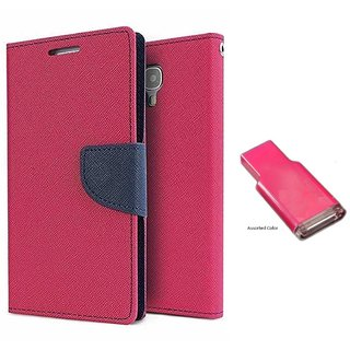 Lenovo A6000 WALLET FLIP CASE COVER (PINK) With MEMORY CARD READER