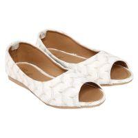 Jade White Peep Toe Casual Shoe