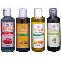 Khadi 1 Rose Water Face Wash And 1 Haney  Almond  Shampoo And 1 Lemon Honey Body Wash And 1 Bhringraj Oil  Combo