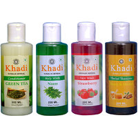 Khadi 1 Green Tea Conditioner And 1 Neem Body Wash And 1 Strawberry Face Wash And 1 Haney  Almond Shampoo Combo