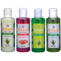 Khadi 1 Alover Conditioner And 1 Strawberry Face Wash And 1 Aloever Shampoo And 1 Aloever Body Wash Combo
