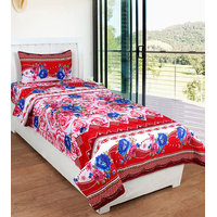 BSB Trendz Printed Pollycotton Single Bedsheet With 1 Pillow Cover