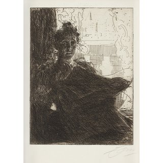 The Museum Outlet - Anders Zorn - Mrs. Emma Zorn (etching) 1900 - Poster Print Online Buy (24 X 32 Inch)