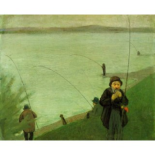 The Museum Outlet - Anglers on the Rhine by Macke - Poster Print Online Buy (24 X 32 Inch)