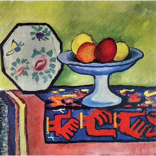 The Museum Outlet - Still life with apple peel and a Japanese fan by August Macke - Poster Print Online Buy (24 X 32 Inch)