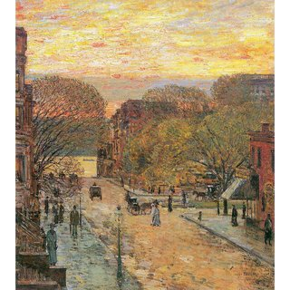 The Museum Outlet - West 78th Street in Spring by Hassam - Poster Print Online Buy (24 X 32 Inch)