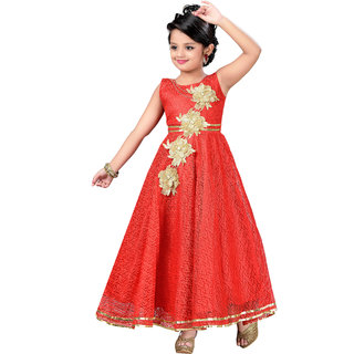 Aarika Girls Self Design Flower Net Fabric Party Wear Ball Gown
