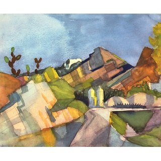 The Museum Outlet - Rocky Landscape by August Macke - Poster Print Online Buy (24 X 32 Inch)