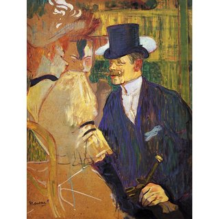 The Museum Outlet - Study for the flirt, Englishman in the Moulin Rouge by Toulouse-Lautrec - Poster Print Online Buy (24 X 32 Inch)
