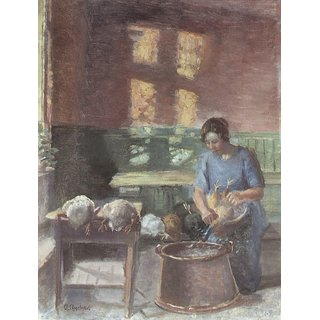 The Museum Outlet - With the chickens by Anna Ancher - Poster Print Online Buy (24 X 32 Inch)
