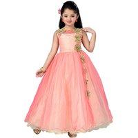 Aarika Girls Self Design Net Fabric Birthday Special Ball Gown