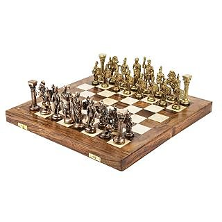 Unique Handmade Royal International Brass Chess with Wooden Book Style Box and Storage Delux Chess Set of India
