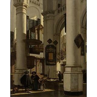 The Museum Outlet - Interior of a Protestant Church with Gothic motifs of the Old and the New Church in Amsterdam. 1669 - Poster Print Online Buy (30 X 40 Inch)