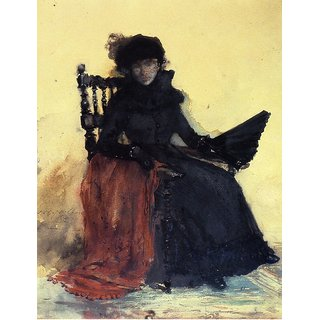 The Museum Outlet - A Lady in Black (aka The Red Shawl), 1883 - Poster Print Online Buy (30 X 40 Inch)